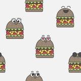 Hamburgers émotifs de modèle sans couture de vecteur Photographie stock
