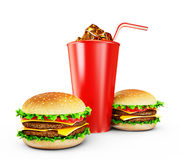 Hamburgers. Big tasty hamburgers on a white background vector illustration