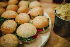 Hamburgers appétissants avec la verdure et la sauce délicieuses photographie stock libre de droits