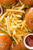 Hamburgers avec des fritures Photos stock