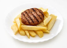 Hamburgers and chips Royalty Free Stock Images