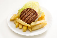 Hamburgers and chips Royalty Free Stock Photography