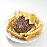 Hamburgers and chips Stock Photos
