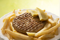 Hamburgers and chips Stock Photo