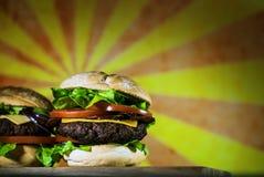Hamburgers délicieux de fromage avec de la laitue et la tomate Closeu photo libre de droits