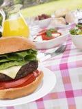 hamburgers de barbecue faisant cuire le gril Image libre de droits