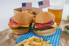 Hamburgers decorated with 4th july theme Stock Photo