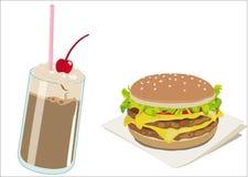 Hamburgers en milkshaken Stock Foto
