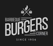 Hamburgers et hot dogs blancs sur le noir illustration libre de droits
