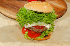 Hamburgers, fast food, burger, hamburger steak, lettuce, tomato, Royalty Free Stock Photos