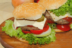 Hamburgers, fast food, burger, hamburger steak, lettuce, tomato, Stock Images