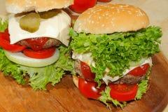 Hamburgers, fast food, burger, hamburger steak, lettuce, tomato, Stock Image