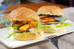 Hamburgers and French fries Stock Photo