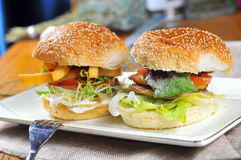 Hamburgers and French fries Stock Photography