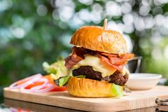Hamburgers and French fries on the wooden tray. stock photography