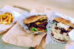 Hamburgers and Fries Stock Photography