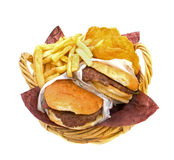 Hamburgers Fries and Potato Cakes Stock Photos