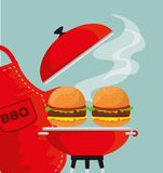 Hamburgers in the grill to the bbp sauce and apron. Vector illustration vector illustration
