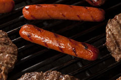 Hamburgers and Hot Dogs on the Grill Royalty Free Stock Image