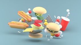 Hamburgers, hot dogs and soft drinks among colorful balls on a gray background. 3d rendering vector illustration