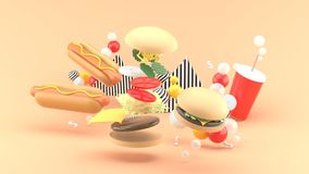 Hamburgers, hot dogs and soft drinks among colorful balls on an orange background. 3d rendering stock illustration