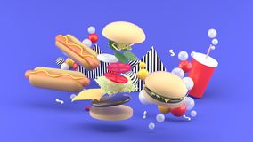 Hamburgers, hot dogs and soft drinks among colorful balls on a purple background. 3d rendering stock illustration