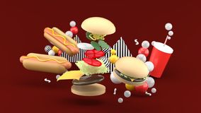 Hamburgers, hot dogs and soft drinks among colorful balls on a red background. 3d rendering vector illustration