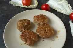 Hamburgers juteux faits maison de petits p?t?s de viande hach?e en fin de plat et tomates fra?ches avec des feuilles de laitue image libre de droits
