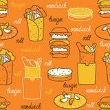 Hamburgers on an orange background. Seamless pattern with hamburger and rolls hand-drawn Stock Photography