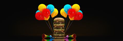 Hamburgers with party hat. 3d rendering vector illustration