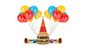 Hamburgers with party hat. 3d rendering royalty free illustration