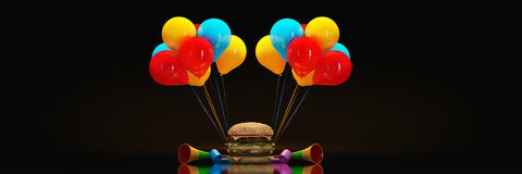 Hamburgers with party hat. 3d rendering stock illustration
