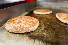 Hamburgers` patties . Royalty Free Stock Photos