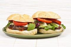 Hamburgers on plate. Tasty hamburgers on green plate ready to eat Royalty Free Stock Image