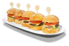 Hamburgers on a plate Royalty Free Stock Photos