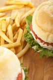 Hamburgers and potato fries Stock Image