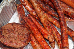 Hamburgers and Sausages Royalty Free Stock Images