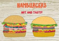 Hamburgers set -  illustration on the wood texture Stock Photography