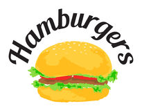 Hamburgers sticker. Vector illustration in watercolor style, for graphic and web design royalty free illustration