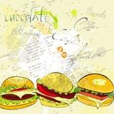 Hamburgers on stylized background Stock Images