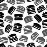 Hamburgers types fast food icons seamless black and gray pattern eps10. Hamburgers types fast food icons seamless black and gray pattern Stock Image