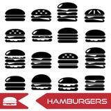 Hamburgers types fast food modern simple icons. Eps10 royalty free illustration
