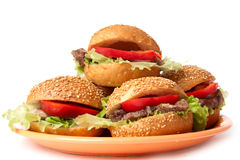 Hamburgers with vegetables. On a orange plate Stock Image