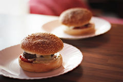 Hamburgers with yogurt sauce Stock Photo