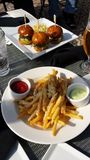 Hamburgerschuiven en gebraden gerechten Stock Afbeeldingen