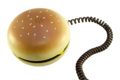Hamburgertelefon stockfotos