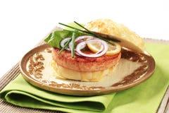hamburgeru łosoś Fotografia Stock