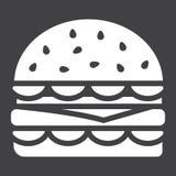 Hamburgeru glifu ikona, jedzenie i napój, fast food Zdjęcie Royalty Free