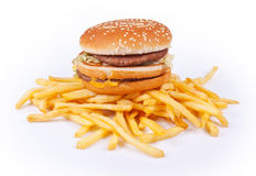 Hamburgeru i francuza dłoniaki zdjęcie stock