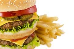 Hamburgeru i francuza dłoniaki zdjęcie royalty free